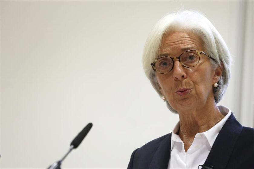 La directora del Fondo Monetario Internacional (FMI), Christine Lagarde, pronuncia un discurso. EFE/POOL