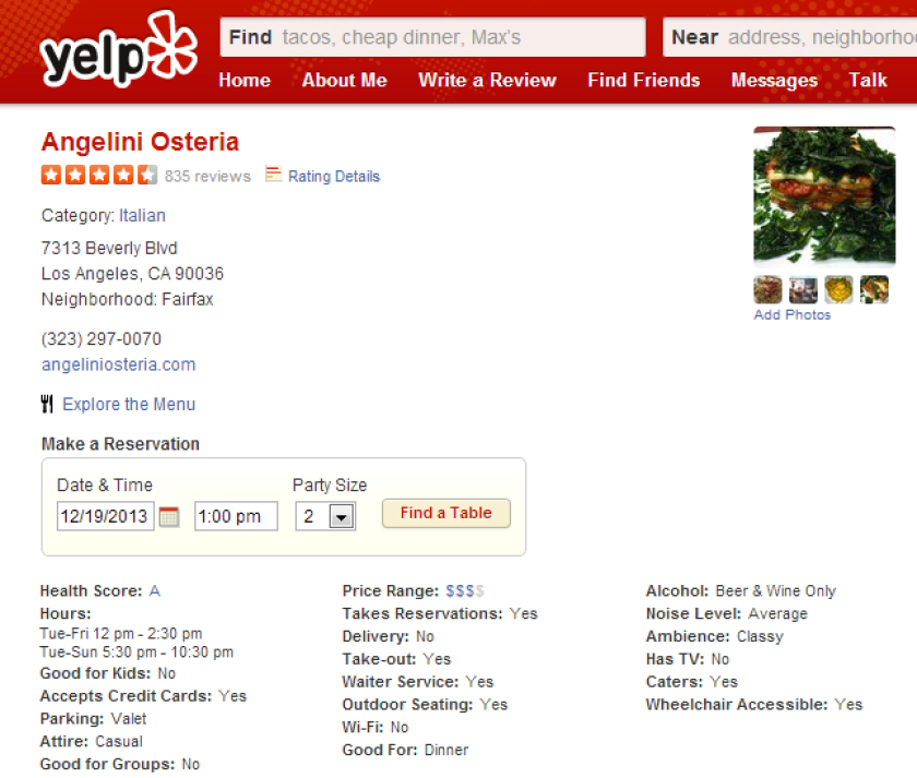 Health scores now appear on a restaurant's Yelp page in the information section.