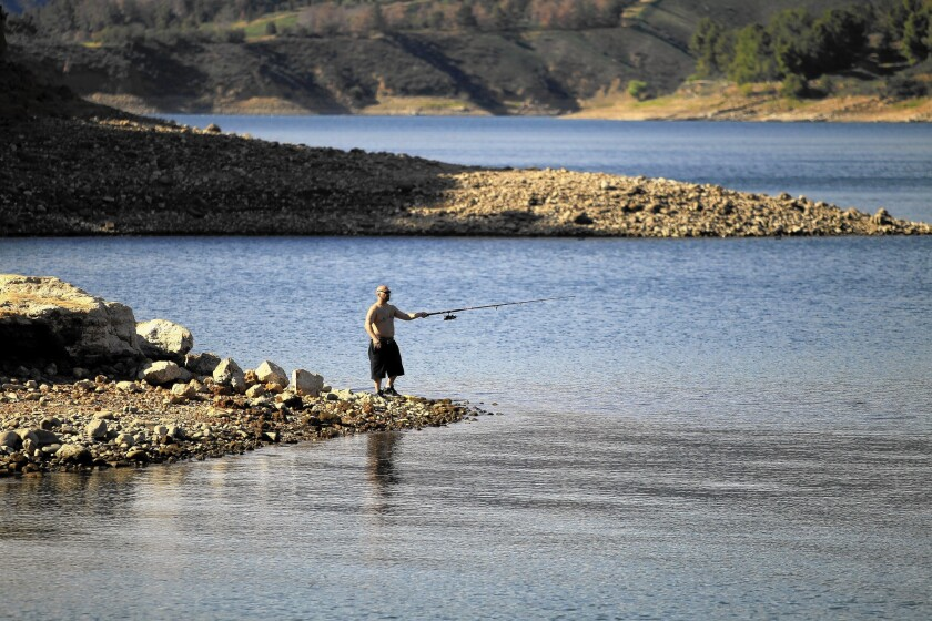At Castaic Lake north of Santa Clarita, a Father's Day fishing tournament was moved because the lake is too shallow to launch boats.