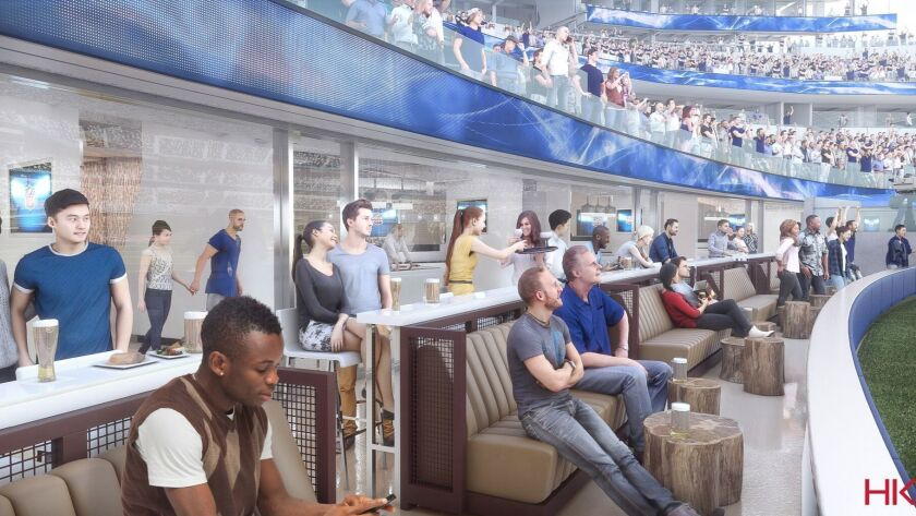Some suites will be on the field level, providing an up-close view. Shown is a rendering.