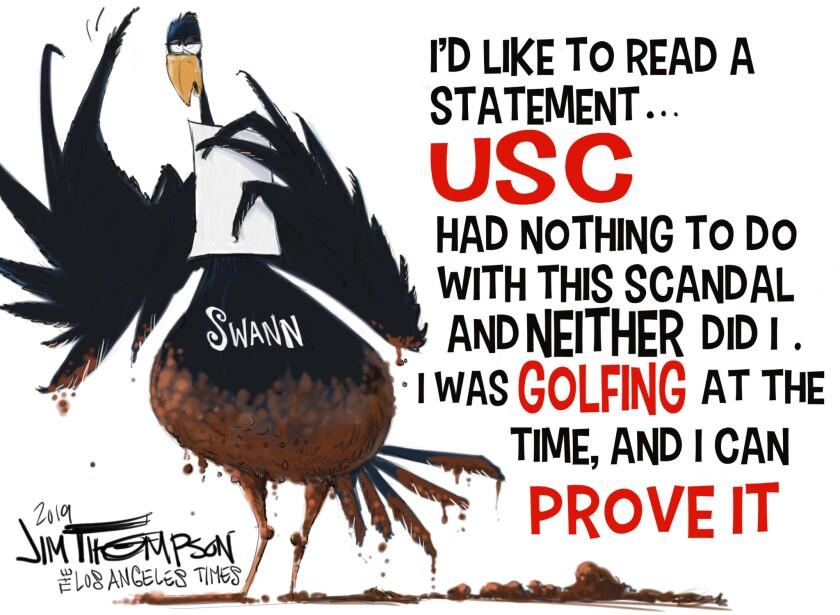 Cartoon on USC Athletic Director Lynn Swann on the college academic scandal.