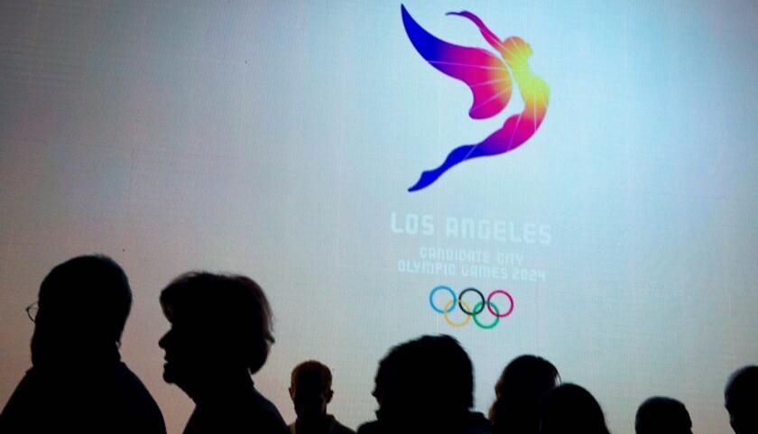 El logo para la sede de los Juegos Olímpicos Los Ángeles 2024.