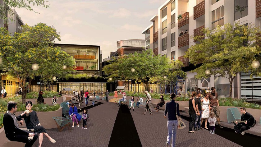 Rendering of how the Runway at Playa Vista town center will look after a $9.1- million makeover that