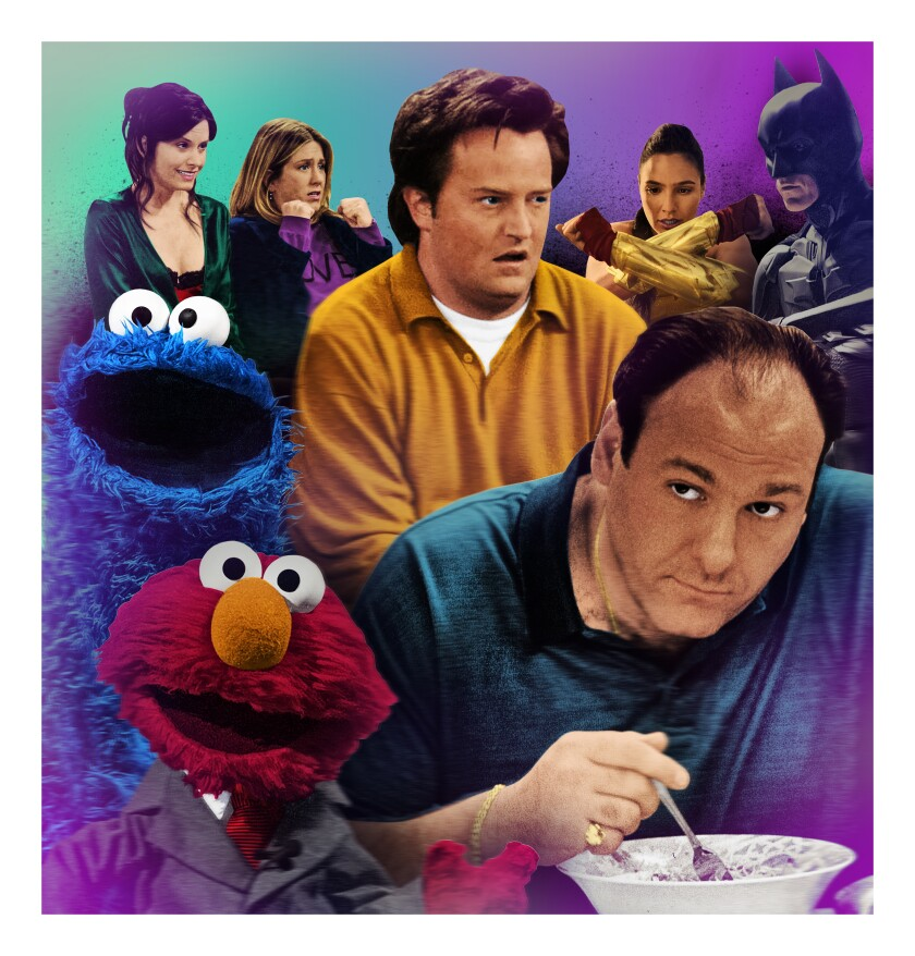 "HBO Max programs include ""Friends,"" ""Wonder Woman,"" ""The Dark Knight,"" ""The Sopranos"" and ""The Not Too Late Show With Elmo."""