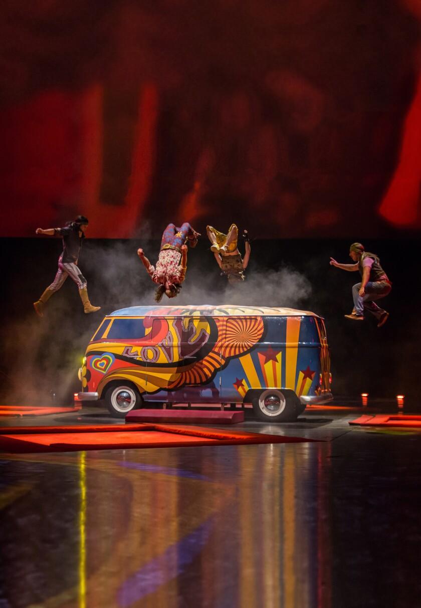 Performers in Cirque du Soleil's Beatles LOVE show.