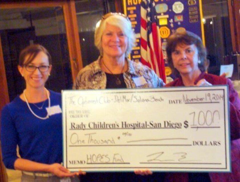 The Del Mar-Solana Beach Optimists donated $1,000 to Rady Children's Hospital Foundation.