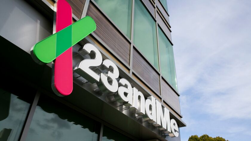 A logo sign marks the headquarters of 23andMe in Mountain View, Calif., on Jan. 24, 2016.