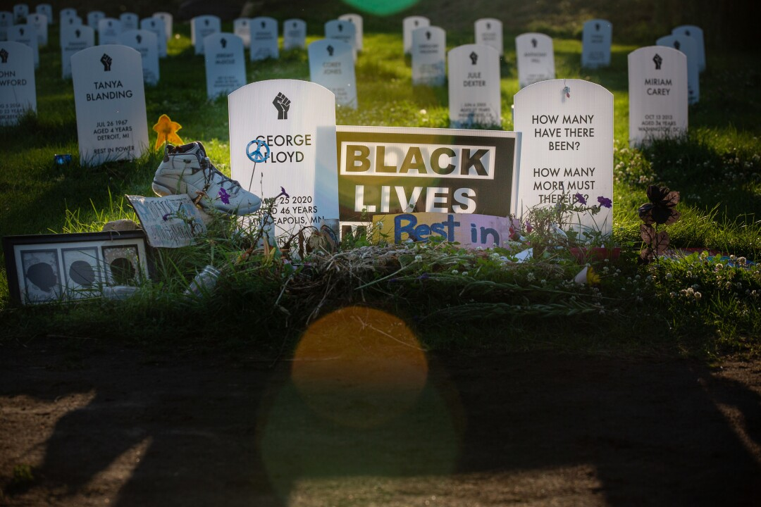 Dozens of mock tombstones set up near where George Floyd died honor Black people killed by police
