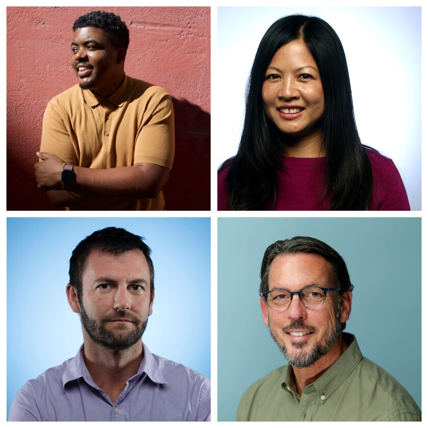 Portraits of four L.A. Times employees.