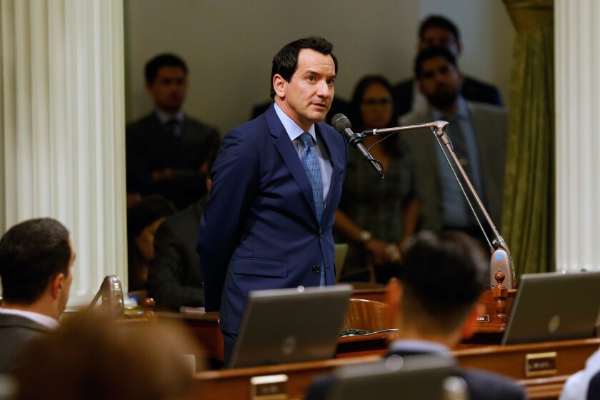 Assembly Speaker Anthony Rendon (D-Paramount) speaks before California lawmakers pass legislation that would expand overtime pay for more than 825,000 laborers at the State Capitol in Sacramento, Calif., on Aug. 29, 2016.