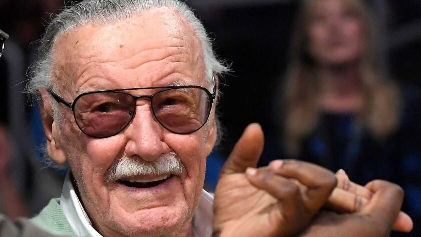 In this Oct. 27, 2017, file photo, famed comic book creator Stan Lee appears at an NBA basketball game between the Los Angeles Lakers and the Toronto Raptors in Los Angeles.