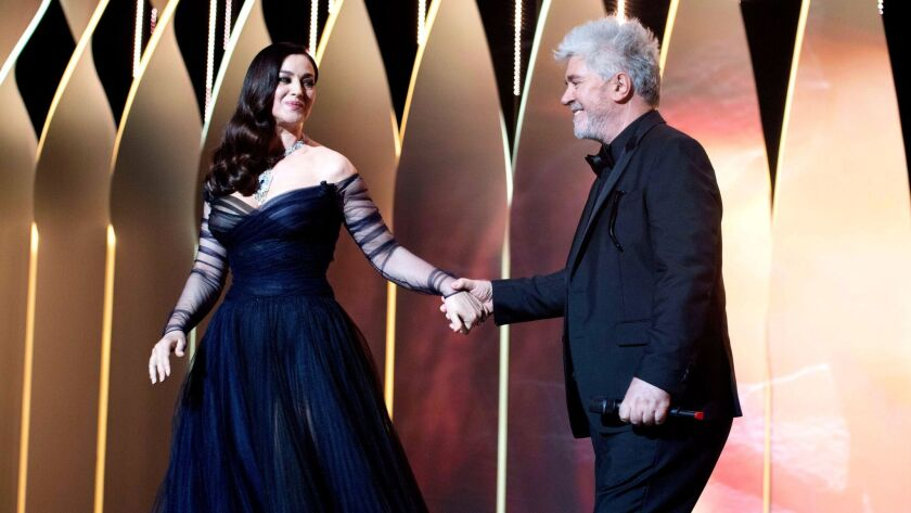 Mistress of Ceremony Monica Bellucci and President of the Jury Pedro Almodovar at the 2017 Cannes Fi