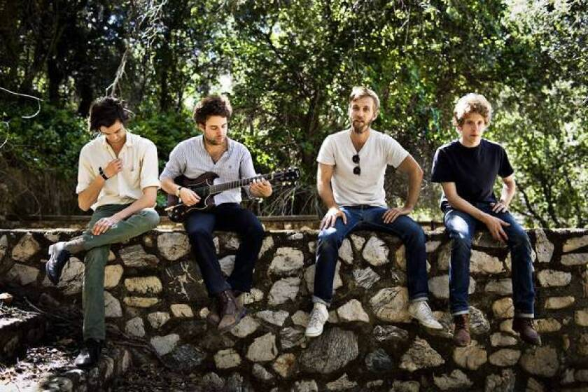 The band Dawes is Wylie Gelber, left, Taylor Goldsmith, Tay Strathairn,and Griffin Goldsmith.
