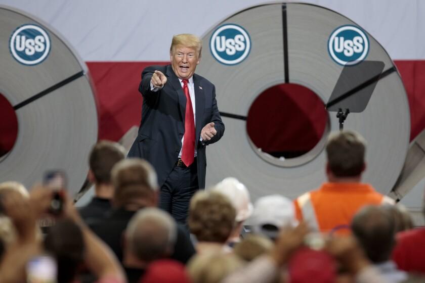 President Trump speaks at the Granite City, Ill., steel plant in July 2018