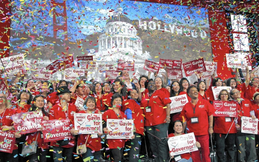 The politically powerful California Nurses Association announced Wednesday that it is endorsing Gavin Newsom for governor nearly three full years before the general election contest.
