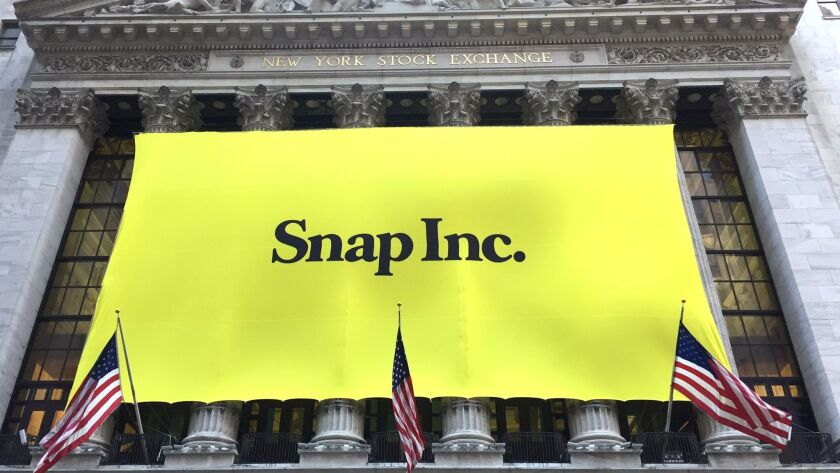 The debut of Snap, the company behind the Snapchat messaging app, is marked at the New York Stock Exchange in March.