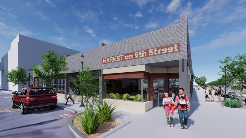 Rendering of Market on 8th, a public market that will offer food, beer, coffee and more in downtown National City.