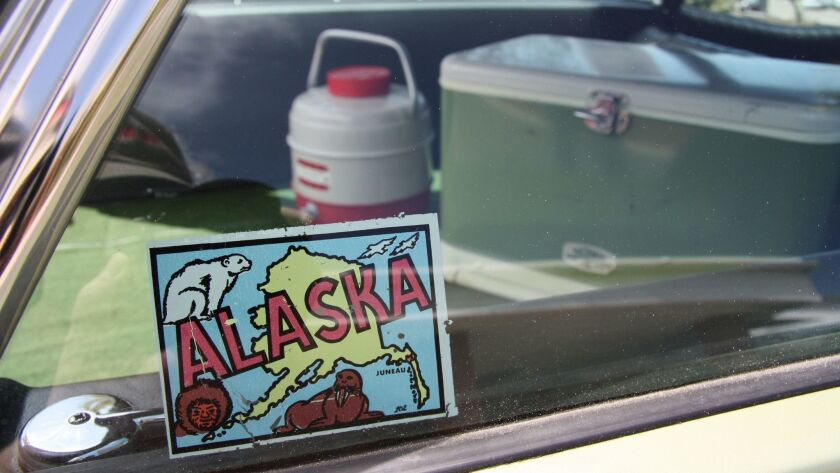 Original Alaska decal hints to its actual age and use. Coolers in back are from the 1970 trip.