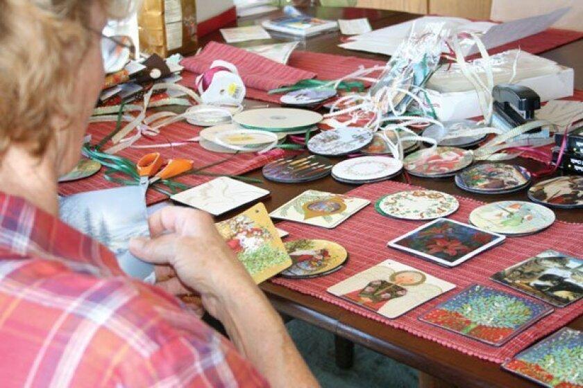 Nancy Byrne works on crafts