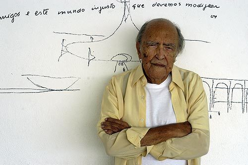 Brazilian architect Oscar Niemeyer's signature style features futuristic round and curving designs. His formative experience came in 1934 when he joined a team of Brazilian architects collaborating with Swiss architect Le Corbusier on a new Ministry of Education and Health in Rio de Janeiro.