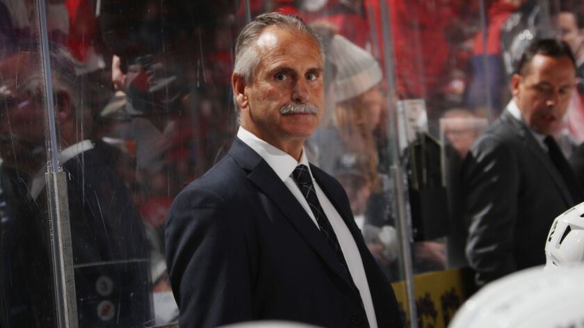 Kings interim coach Willie Desjardins watches from the bench during a game against the New Jersey Devils on Feb. 5. Desjardins will not be returning as coach for the 2019-20 season.