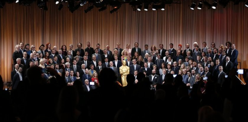 Class photo at the 88th Academy Awards luncheon at the Beverly Hilton Hotel.
