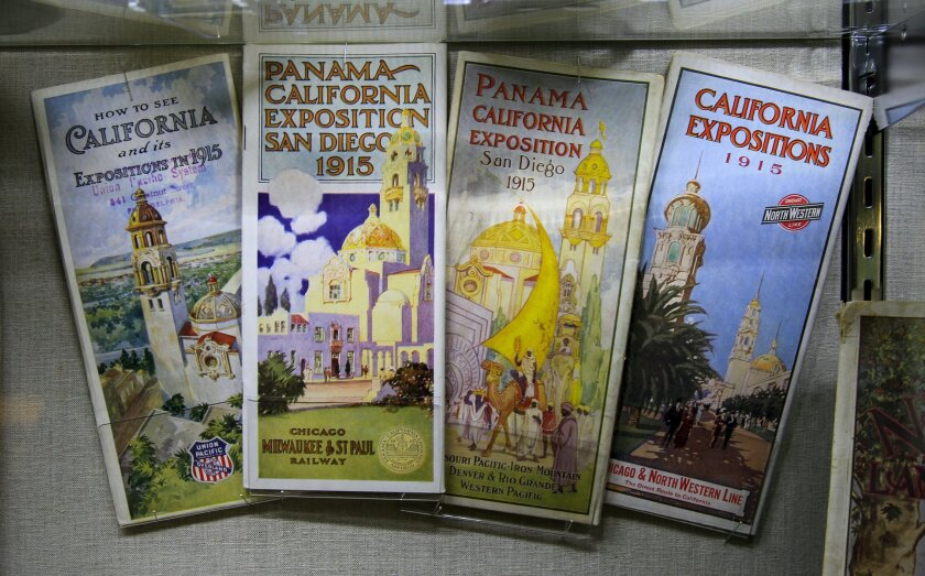 Sightseeing guides from the 1915 Panama-California Exposition at Balboa Park, on display at the Marston House in the park, part of Dick Miller's collection.