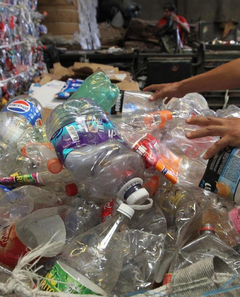 Fotografía fechada el 6 de junio de 2019, que muestra envases de plásticos preparados para su proceso, en una recicladora en Ciudad de México (México). EFE/ Mario Guzmán