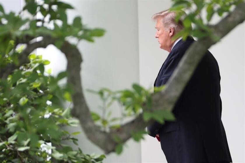 El presidente estadounidense Donald Trump camina en la Casa Blanca. EFE/Archivo