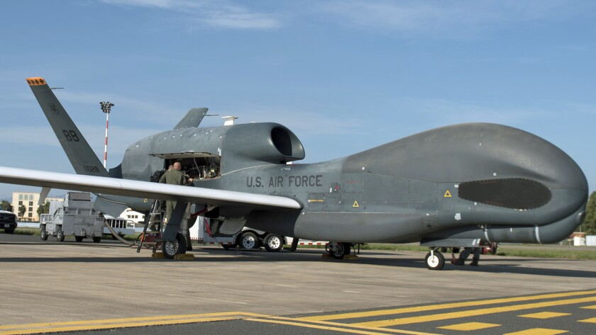 Crews prepare to launch an RQ-4 Global Hawk at Naval Air Station Sigonella, Italy, in October 2018.