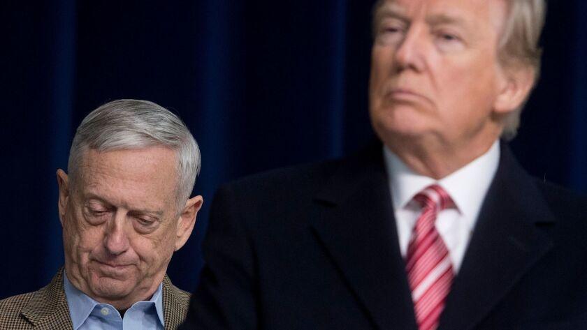 President Trump, right, alongside Secretary of Defense James N. Mattis in a file photo.