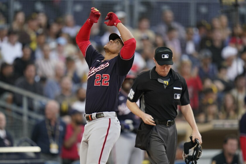 Washington Nationals' Juan Soto reacts after hitting a three-run home run during the first inning of a baseball game against the San Diego Padres, Wednesday, July 7, 2021, in San Diego. (AP Photo/Gregory Bull)