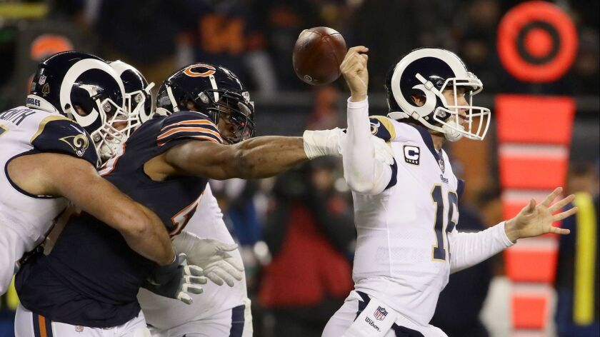 Rams quarterback Jared Goff has the football stripped from his grasp by the Bears' Khalil Mack in 2018.