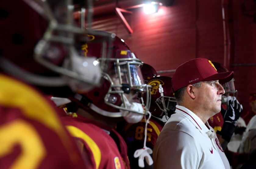 USC head coach Clay Helton prepares to take his team on to the field at the Coliseum Saturday.