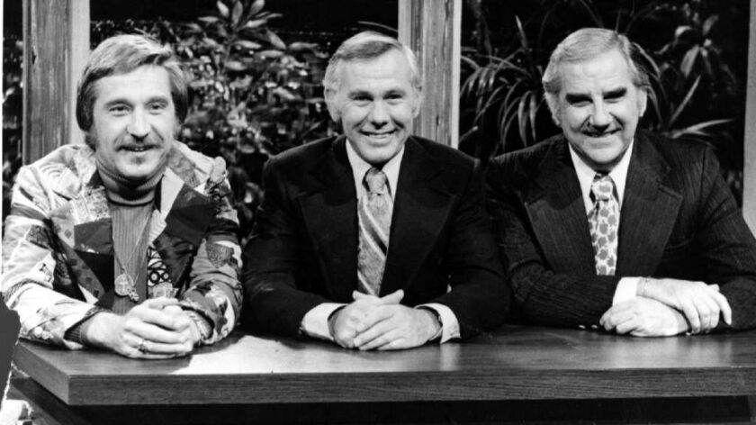 Doc Severinsen from left, Johnny Carson and Ed McMahon in 1974.