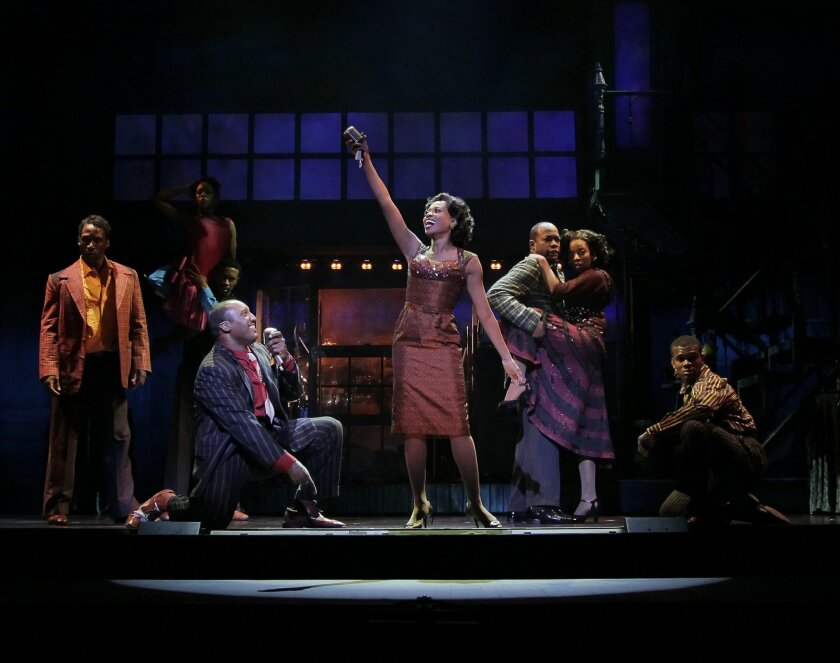 """Felicia Boswell (center) and the cast of the national touring production of """"Memphis."""""""
