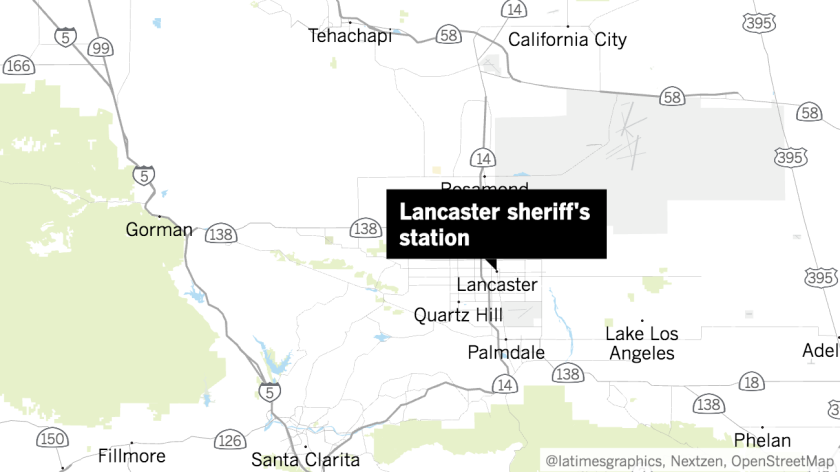 Map shows location of the L.A. County sheriff's Lancaster station, where alleged assault occurred