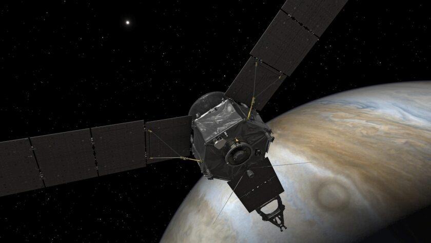 JUN01 ESPACIO 05/07/2016.- Imagen facilitada por la NASA hoy, 5 de julio de 2016, que muestra un boceto de la sonda Juno, que hizo hoy historia al llegar a la órbita de Júpiter tras cinco años de misión, y se convirtió en el vehículo que más se aproxima al gigantesco planeta gaseoso, con el objetivo de descifrar sus enigmas y descubrir más sobre el origen del sistema solar. Hacia las 03:54 GMT del martes, la sonda impulsada por energía solar se incorporó a la órbita de Júpiter, culminando una misión que comenzó en agosto de 2011 y que busca despejar numerosos interrogantes sobre el mayor planeta del sistema solar, tan enorme que en él podría caber la Tierra más de mil veces. EFE/Nasa/Jpl-Caltech/Handout SOLO USO EDITORIAL NO VENTAS