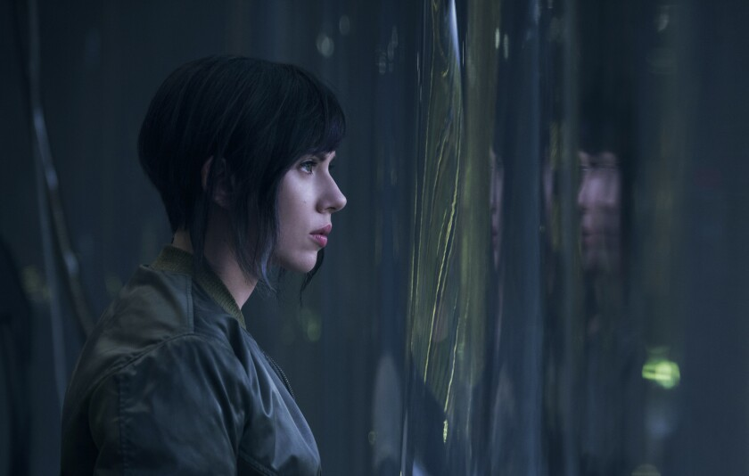 Scarlett Johansson plays the Major in 'Ghost in the Shell' from Paramount Pictures and DreamWorks Pictures, in theaters next March.