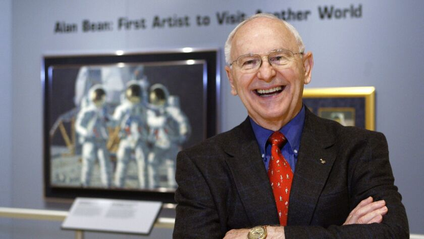 FILE - In this Oct. 1, 2008, file photo, Alan Bean, the fourth man to walk on the moon, is shown dur