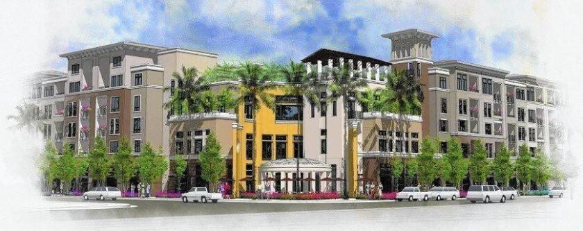 The Residences at Newport Place, depicted in this rendering, was proposed to replace the MacArthur Square shopping center in Newport Beach with 384 apartments and 5,677 square feet of restaurant space.
