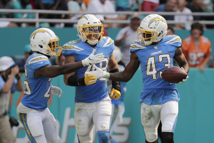 Los Angeles Chargers cornerback Casey Hayward (26) and linebacker Drue Tranquill (49) congratulate cornerback Michael Davis (43) after Davis intercepted a pass Sunday against the Miami Dolphins.