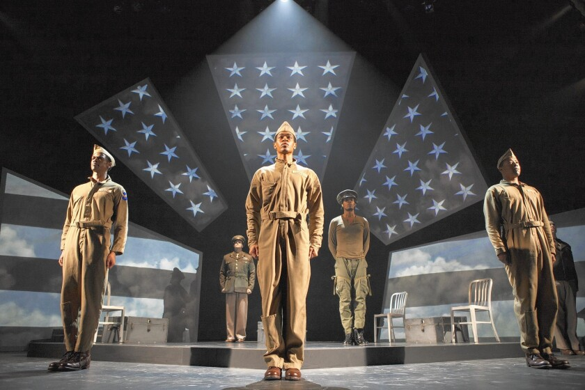 """Brooks Brantley, left, Anthony J. Goes, Desmond Newson, Omar Edwards and Terrell Wheeler in """"Fly"""" at the Pasadena Playhouse."""