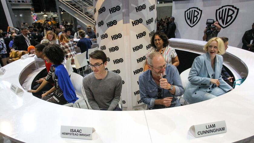 "In a photo from Comic-Con San Diego 2017, actors from ""Game of Thrones"" prepare to sign autographs at the Warner Brothers' booth. The HBO drama is not bringing a panel to Comic-Con this year."