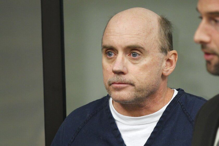 In his May 2014 file photo, Jeffrey Barton appeared at his arraignment in San Diego Superior Court following a grand jury indictment. Trial is set for September for the former Army Navy Academy school chief, who is accused of molesting three cadets between 1995 and 2001.
