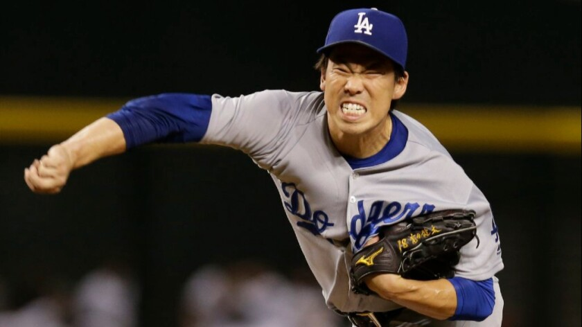 Dodgers right-hander Kenta Maeda pitches against the Diamondbacks during the first inning of a game on Sept. 16.