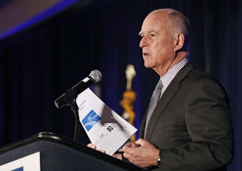 Gov. Jerry Brown speaks at the Assn. of California Water Agencies conference in January.
