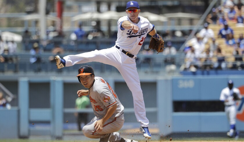 Dodgers' Chase Utley, top, throws to first base to complete a double play after forcing out Baltimore Orioles' Hyun Soo Kim during the third inning on Wednesday at Dodger Stadium. Utley had six hits in the game.