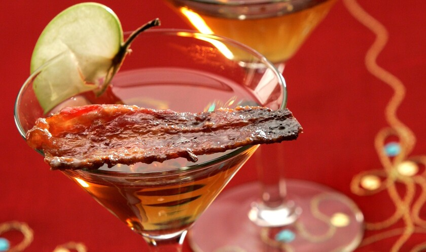 Cocktail for bacon lovers: candied bacon martini.