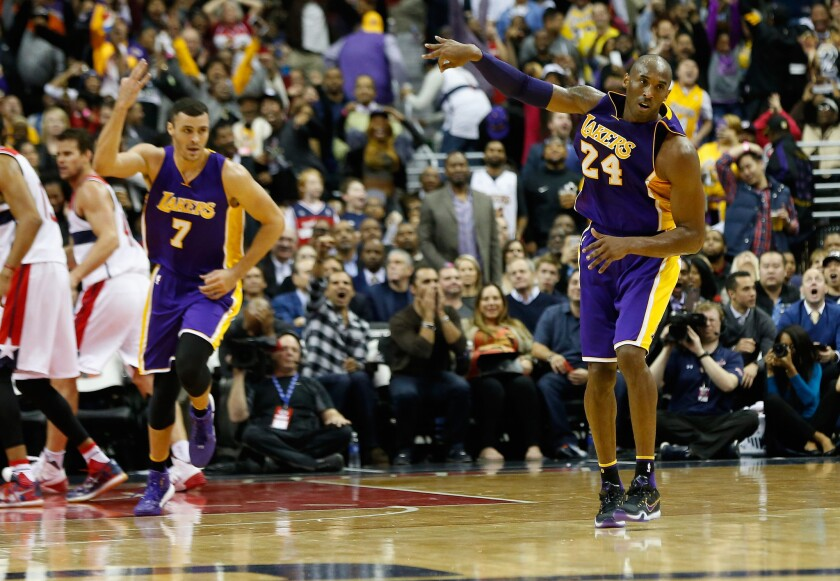 Kobe Bryant has 31 points in the Lakers' win over Wizards